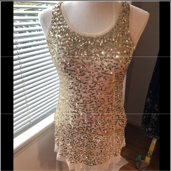 Body Central Tops - Body Central NWT Gold Sequin Tank Flesh Fabric